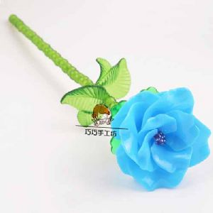 Bead flower kits, Light blue, Rose, Size of item when completed [approximately] 5cm x 27cm [ZCZ0022]